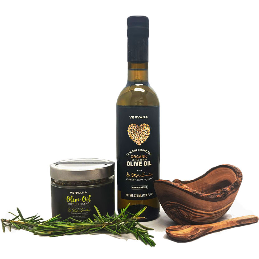 Gourmet olive oil gift set with a bottle of Vervana organic extra virgin olive oil, a jar of Vervana olive oil dipping spices, a rustic olive wood bowl for dipping and a small olive wood spoon for scooping dipping spices out of jar.